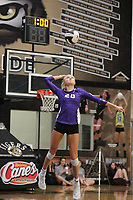 Brooke Rockwell (20) of Fayetteville serves the ball against Bentonville on Thursday, Oct.  7, 2021, during play at Tiger Arena in Bentonville. Visit nwaonline.com/211008Daily/ for today's photo gallery.<br /> (Special to the NWA Democrat-Gazette/David Beach)