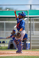 GCL Mets catcher Jose Mena (38) signals to the defense during a game against the GCL Cardinals on August 6, 2018 at Roger Dean Chevrolet Stadium in Jupiter, Florida.  GCL Cardinals defeated GCL Mets 6-3.  (Mike Janes/Four Seam Images)