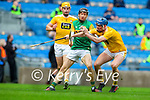 Colm Harty, Kerry in action against Gerard Walsh, Antrim during the Joe McDonagh Cup Final match between Kerry and Antrim at Croke Park in Dublin.