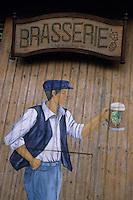 Europe/France/Nord-Pas-de-Calais/59/Nord/Bailleul/Eeckelstraete : Détail  enseigne de la brasserie de la ferme Beck