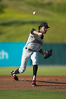 Hickory Crawdads starting pitcher Tyree Thompson (13) delivers a pitch to the plate against the Kannapolis Intimidators at Kannapolis Intimidators Stadium on May 2, 2018 in Kannapolis, North Carolina.  The Intimidators defeated the Crawdads 9-6.  (Brian Westerholt/Four Seam Images)