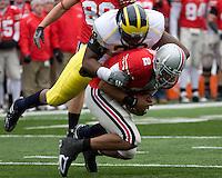 November 22, 2008. Michigan defensive end Tim Jamison sacks Ohio State quarterback Terrelle Pryor. The Ohio State Buckeyes defeated the Michigan Wolverines 42-7 on November 22, 2008 at Ohio Stadium, Columbus, Ohio.