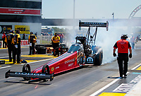 Aug 8, 2020; Clermont, Indiana, USA; NHRA top fuel driver Leah Pruett during qualifying for the Indy Nationals at Lucas Oil Raceway. Mandatory Credit: Mark J. Rebilas-USA TODAY Sports