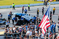 Aug 18, 2019; Brainerd, MN, USA; NHRA funny car driver Tommy Johnson Jr during the Lucas Oil Nationals at Brainerd International Raceway. Mandatory Credit: Mark J. Rebilas-USA TODAY Sports