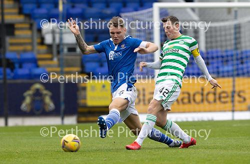 St Johnstone v Celtic…04.10.20   McDiarmid Park  SPFL<br />Jason Kerr tackles Callum McGregor<br />Picture by Graeme Hart.<br />Copyright Perthshire Picture Agency<br />Tel: 01738 623350  Mobile: 07990 594431