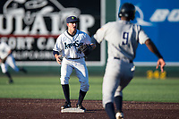 Everett AquaSox shortstop Ryne Ogren (16) covers second base on an attempted double play as Angel Solarte (9) runs towards the base during a Northwest League game against the Tri-City Dust Devils at Everett Memorial Stadium on September 3, 2018 in Everett, Washington. The Everett AquaSox defeated the Tri-City Dust Devils by a score of 8-3. (Zachary Lucy/Four Seam Images)