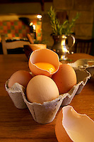 Fresh organic eggs in a country kitchen