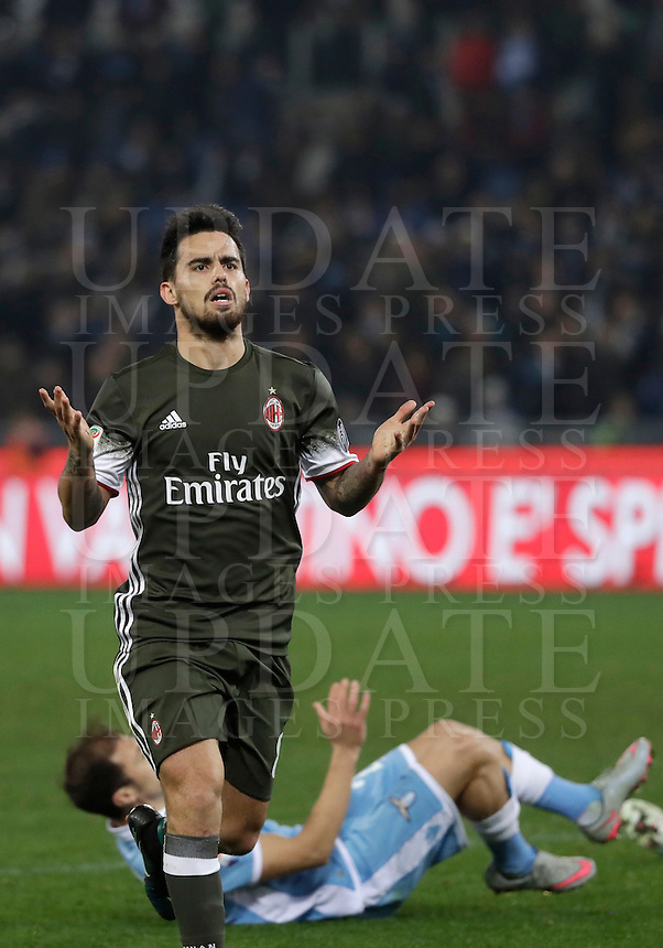 Calcio, Serie A: Lazio, Stadio Olimpico, 13 febbraio 2017.<br /> Milan's Fernandez Suso celebrates after scoring during the Italian Serie A football match between Lazio and Milan at Roma's Olympic Stadium, on February 13, 2017.<br /> UPDATE IMAGES PRESS/Isabella Bonotto