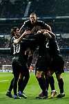 Kylian Mbappe of Paris Saint Germain celebrates for the team's goal by teammate Adrien Rabiot in the match during the UEFA Champions League 2017-18 Round of 16 (1st leg) match between Real Madrid vs Paris Saint Germain at Estadio Santiago Bernabeu on February 14 2018 in Madrid, Spain. Photo by Diego Souto / Power Sport Images