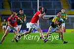 Brian Ó Beaglaoich, Kerry in action against Sean Powter, Cork, during the Munster GAA Football Senior Championship Semi-Final match between Cork and Kerry at Páirc Uí Chaoimh in Cork.