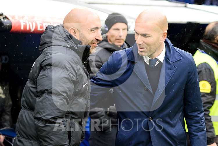 Real Madrid's coach Zinedine Zidane and Sporting de Gijon's coach Abelardo Fernández during match of La Liga between Real Madrid and Sporting de Gijon at Santiago Bernabeu Stadium in Madrid, Spain. November 26, 2016. (ALTERPHOTOS/BorjaB.Hojas)