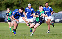 Saturday 10th October 2020 | Ballynahinch vs Queens<br /> <br /> Chris Gibson is tackled by Alexander Clarke during the Energia Community Series clash between Ballynahinch and Queens at Ballymacarn Park, Ballynahinch, County Down, Northern Ireland. Photo by John Dickson / Dicksondigital