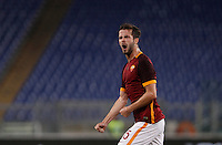 Calcio, Serie A: Roma vs Empoli. Roma, stadio Olimpico, 17 ottobre 2017.<br /> Roma's Miralem Pjanic celebrates after scoring during the Italian Serie A football match between Roma and Empoli at Rome's Olympic stadium, 17 October 2015.<br /> UPDATE IMAGES PRESS/Isabella Bonotto