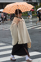 Young lady in kimono street in Tokyo
