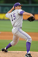 Pitcher Nate Smith (15) of the Furman Paladins in a game against the Elon Phoenix in the first round of the Southern Conference Tournament game on Wednesday, May 22, 2013, at Fluor Field at the West End in Greenville, South Carolina. Furman won, 10-1. (Tom Priddy/Four Seam Images)