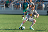 HARTFORD, CT - JULY 10: Cameron Harper #17 of New York Red Bulls II dribbles during a game between New York Red Bulls II and Hartford Athletics at Dillon Stadium on July 10, 2021 in Hartford, Connecticut.