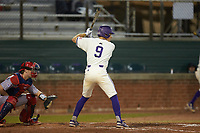 Daylan Nanny (9) of the Western Carolina Catamounts at bat against the St. John's Red Storm at Childress Field on March 13, 2021 in Cullowhee, North Carolina. (Brian Westerholt/Four Seam Images)