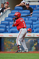 Washington Nationals Wilfrido Matos (1) on deck during a Florida Instructional League game against the Miami Marlins on September 26, 2018 at the Marlins Park in Miami, Florida.  (Mike Janes/Four Seam Images)
