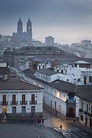 Quito at dawn from Plaza San Francisco towards Basilica del Voto Nacional, Ecuador, South America