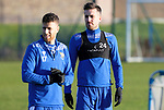 St Johnstone Training….Callum Booth pictured with Guy Melamed during training at McDiarmid Park ahead of Sundays game against Celtic.<br />