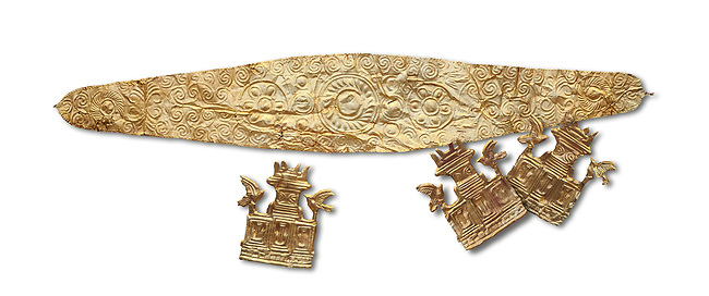 Mycenaean Gold diadems and cut outs from Grave IV, Grave Circle A, Myenae, Greece. National Archaeological Museum Athens. 16th Cent BC. White Background.<br /> <br /> Top: Mycenaean Gold diadem with repousse circles and rosettes Cat No 234<br /> <br /> Bottom . Gold cut outs depicting tripartite shrines crowned with horns of consecration and birds. Cat No 242-244