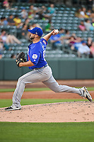 Las Vegas 51s starting pitcher Dillon Gee (53) delivers a pitch to the plate against the Salt Lake Bees in Pacific Coast League action at Smith's Ballpark on June 25, 2015 in Salt Lake City, Utah. Las Vegas defeated Salt Lake 20-8. (Stephen Smith/Four Seam Images)