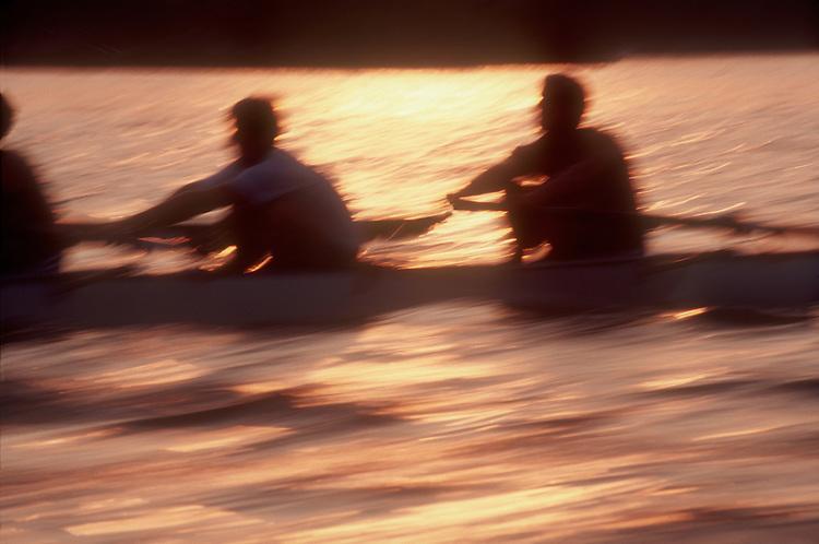 Rowing, crews competing at sunset, blur motion, Boston, Massachusetts,