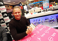 """Pictured: Lee Trundle Wednesday 14 January 2015<br /> Re: Swansea City footballers have signed copies of the """"Jack To A King """" dvd at HMV store in the Quadrant, Swansea, south Wales."""