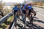 Alejandro Valverde, Jose J Rojas Movistar Team and Carlos Barbero (ESP) NTT Pro Cycling have time for a chat at the start of Stage 10 of the Vuelta Espana 2020 running 187.4km from Castro Urdiales to Suances, Spain. 30th October 2020.    <br /> Picture: Luis Angel Gomez/PhotoSportGomez | Cyclefile<br /> <br /> All photos usage must carry mandatory copyright credit (© Cyclefile | Luis Angel Gomez/PhotoSportGomez)