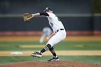 Wake Forest Demon Deacons starting pitcher Morgan McSweeney (35) in action against the Sacred Heart Pioneers at David F. Couch Ballpark on February 15, 2019 in  Winston-Salem, North Carolina.  The Demon Deacons defeated the Pioneers 14-1. (Brian Westerholt/Four Seam Images)