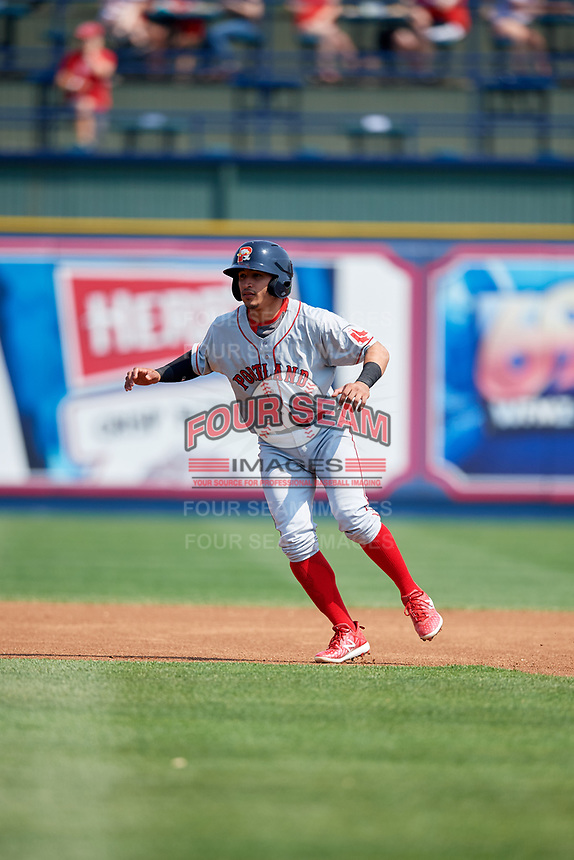 Portland Sea Dogs shortstop Jeremy Rivera (16) leads off second base during the first game of a doubleheader against the Reading Fightin Phils on May 15, 2018 at FirstEnergy Stadium in Reading, Pennsylvania.  Portland defeated Reading 8-4.  (Mike Janes/Four Seam Images)