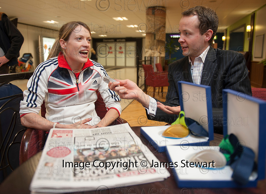Scots athlete Eilidh Child talks about her double medal performance at the European Indoor Championships in Gothenburg during an exclusive interview with The Scottish Sun's Gareth Law as she returns to Edinburgh Airport.