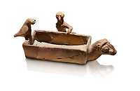 Assyrian Trader Colony Bronze Age terracotta sandal shaped ritual vessed. This cult pot is boat shaped with an animal head at the front. Inside the vessel is god. The deities associated with the ritual vessel were associated with trade and transportation in Ancient Mesopotamia and Summerian literature. The vessel signifies a religious river trip.  - 19th  century BC - Kültepe Kanesh - Museum of Anatolian Civilisations, Ankara, Turkey.. Against a white background.