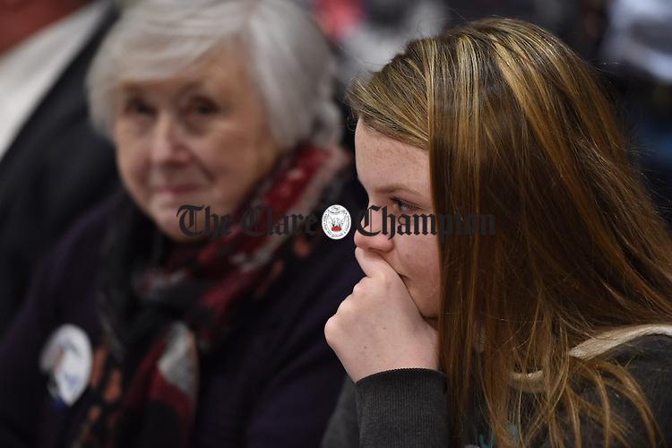 An emotional Evelyn Carey, niece of Joe Carey, Fine Gael, at theGE2016 count in Ennistymon. Photograph by John Kelly.