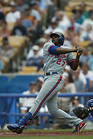 Vladimir Guerrero of the Montreal Expos during a 2003 season MLB game at Dodger Stadium in Los Angeles, California. (Larry Goren/Four Seam Images)