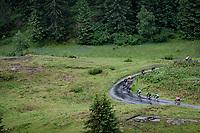 yellow jersey / GC leader Tadej Pogacar (SVN/UAE-Emirates) descending the Col du Pré (HC/1748m) towards the Barrage de Roselend in, yet again, grim conditions.<br /> <br /> Stage 9 from Cluses to Tignes (145km)<br /> 108th Tour de France 2021 (2.UWT)<br /> <br /> ©kramon