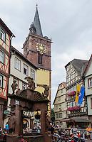 Stiftskirche und Marktbrunnen in Wertheim, Baden-Württemberg, Deutschland