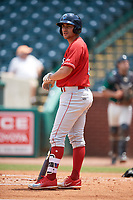 Lakewood BlueClaws left fielder Jake Scheiner (14) at bat during a game against the Greensboro Grasshoppers on June 10, 2018 at First National Bank Field in Greensboro, North Carolina.  Lakewood defeated Greensboro 2-0.  (Mike Janes/Four Seam Images)