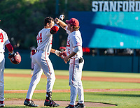 STANFORD, CA - JUNE 5: Christian Robinson, Grant Burton during a game between UC Irvine and Stanford Baseball at Sunken Diamond on June 5, 2021 in Stanford, California.