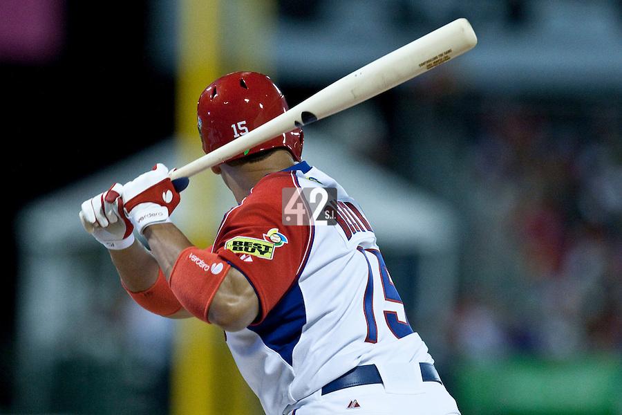 7 March 2009:  #15 Carlos Beltran of Puerto Rico is seen at bat during the 2009 World Baseball Classic Pool D match at Hiram Bithorn Stadium in San Juan, Puerto Rico. Puerto Rico wins 7-0 over Panama.