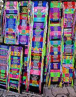 Personal Names on Braided Necklaces.  Bracelets.  Souvenirs.  Playa del Carmen, Riviera Maya, Yucatan, Mexico.