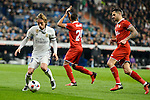 Real Madrid's Luka Modric and Sevilla FC's Salvatore Sirigu during Copa del Rey match between Real Madrid and Sevilla FC at Santiago Bernabeu Stadium in Madrid, Spain. January 04, 2017. (ALTERPHOTOS/BorjaB.Hojas)