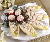 Belgium Endive Stuffed with Salmon Mousse Served upon Scallop Shell Dish