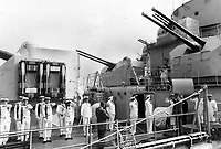 July 1967 FILE -<br /> <br /> A salute is taken by President de Gaulle from the crew and officers of the French warship Colbert, which had just docked at Quebec city in 1967. The former French leader's tour of Quebec province ended rather abruptly after the then prime minister, Lester Pearson, rebuked the general for advocating a separate Quebec. The reaction of Canadians -- both inside and outside Quebec -- was swift and vehement: All denounced de Gaulle. De Gaulle said that since he wasn't welcome, he would cut his visit short.<br /> <br /> PHOTO :  Jeff Goode - Toronto Star Archives - AQP