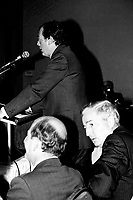 April 25 1988 File Photo - <br /> Egdar Bronfman (Senior) ,Canadian born billionaire and longtime World Jewish Congress president speak at the Canadian Club of Montreal tribune.<br /> <br /> PHOTO :  Agence Quebec Presse