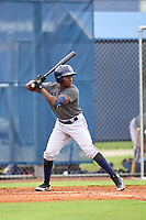 Tampa Bay Rays Yonathan Pierre bats during an Extended Spring Training intrasquad game on June 15, 2021 at Charlotte Sports Park in Port Charlotte, Florida.  (Mike Janes/Four Seam Images)