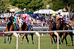 ARLINGTON HEIGHTS, IL - AUGUST 13: The Pizza Man #5 (L), ridden by Mike E. Smith, and Greengrassofyoming #3 (C), ridden by Shaun Bridgmohan, race for the lead as Mondialiste #9 (R), ridden by Daniel Alexander Tubhope, overtakes for the win during the Arlington Million at Arlington International Racecourse on August 13, 2016 in Arlington Heights, Illinois. (Photo by Jon Durr/Eclipse Sportswire/Getty Images)