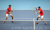 Mike Bryan (USA) / Bob Bryan (USA) in action against Rohan Bopanna (IND) / Florin Mergea (ROM) during Day One of the Barclays ATP World Tour Finals 2015 played at The O2, London on November 15th 2015