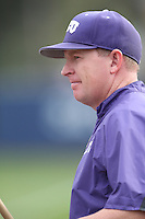 TCU Horned Frogs Head Coach Jim Schlossnagle (22) before a game against the Loyola Marymount Lions at Page Stadium on March 16, 2015 in Los Angeles, California. TCU defeated Loyola, 6-2. (Larry Goren/Four Seam Images)