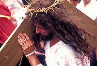 Jesus with cross at Easter procession in Costa Rica. Santa Barbara, Costa Rica.